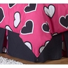Twin Bed Skirt for Pink and Black Hearts Kids Childrens Bedding Sets by Sweet Jojo Designs