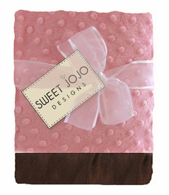 Unique Super Soft Pink and Brown Girls Minky Dot and Satin Baby Blankets by Sweet Jojo Designs