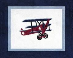 Vintage Aviator Airplane Accent Floor Rug