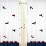 Vintage Aviator Airplanes Window Treatment Panels - Set of 2