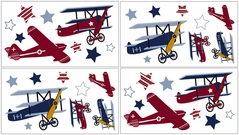Vintage Aviator Baby and Childrens Airplanes Wall Decal Stickers - Set of 4 Sheets