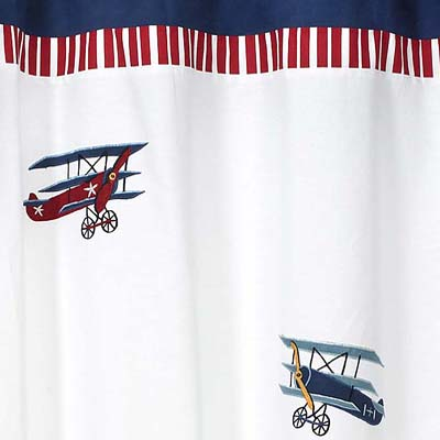 Vintage Aviator Kids Airplanes Bathroom Fabric Bath Shower Curtain Only 3999