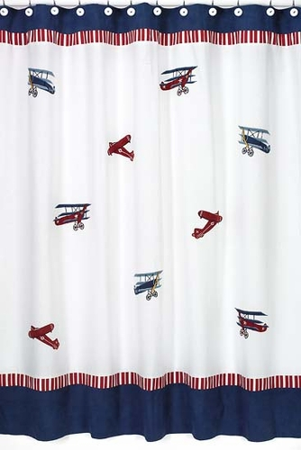 Vintage Aviator Kids Airplanes Bathroom Fabric Bath Shower Curtain