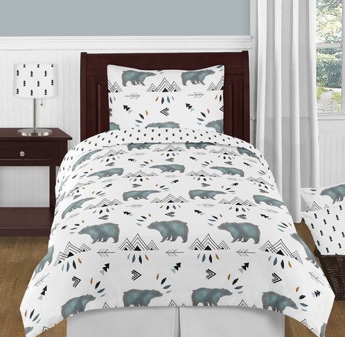 Bear Mountain Watercolor Boy Twin Kid Childrens Bedding Comforter Set by Sweet Jojo Designs - 4 pieces - Click to enlarge