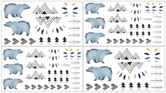 Wall Decal Stickers for Bear Mountain Watercolor Collection by Sweet Jojo Designs - set of 4 sheets