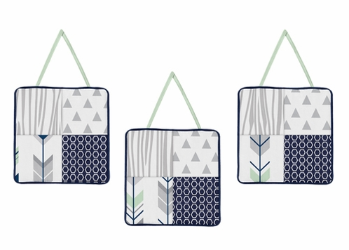 Wall Hanging Accessories for Navy, Mint and Grey Woodsy Collection by Sweet Jojo Designs - Click to enlarge