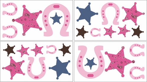 Western Cowgirl Baby and Kids Wall Decal Stickers - Set of 4 Sheets - Click to enlarge