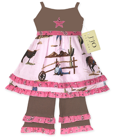 Western Cowgirl Baby Girls 2pc Set or Dress by Sweet Jojo Designs - Click to enlarge