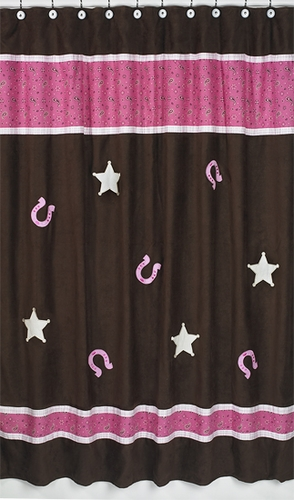 Western Cowgirl Kids Bathroom Fabric Bath Shower Curtain - Click to enlarge