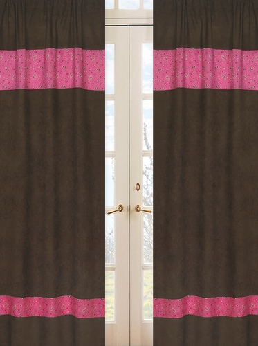 Western Cowgirl Window Treatment Panels - Bandana Print and Chocolate Microsuede - Set of 2 - Click to enlarge