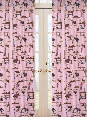 Western Cowgirl Window Treatment Panels - Cowgirl Horse Print - Set of 2 - Click to enlarge