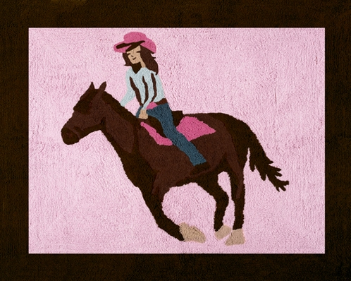 Western Horse Cowgirl Accent Floor Rug - Click to enlarge