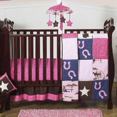 Western Horse Cowgirl Baby Bedding - 4pc Crib Set