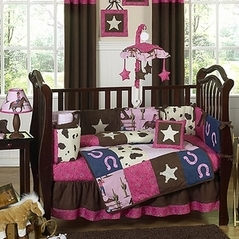 Western Horse Cow Baby Bedding 9 Pc Crib Set