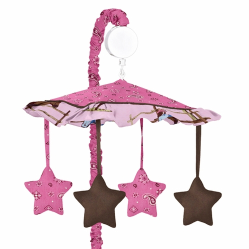 Western Horse Cowgirl Musical Baby Girl Crib Mobile by Sweet Jojo Designs - Click to enlarge
