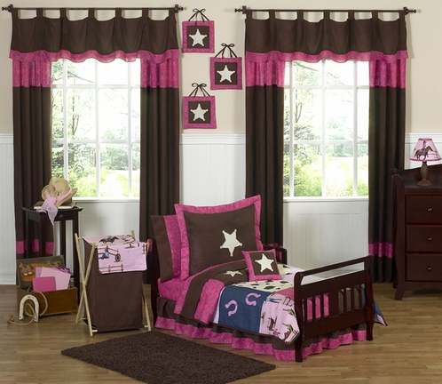 Western Horse Cowgirl Toddler Bedding - 5 pc Set - Click to enlarge