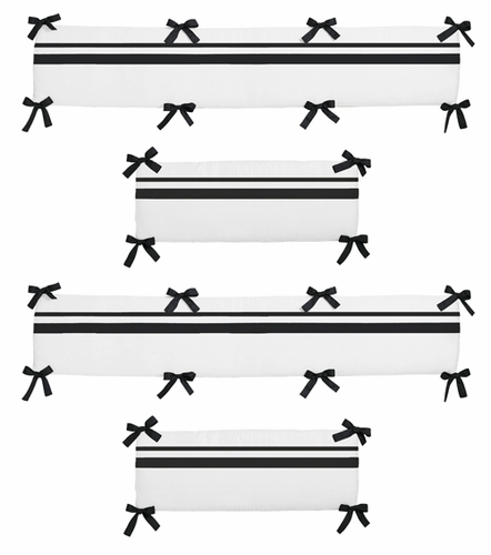 White and Black Hotel Collection Crib Bumper by Sweet Jojo Designs - Click to enlarge