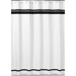 White and Black Hotel Kids Bathroom Fabric Bath Shower Curtain by Sweet Jojo Designs