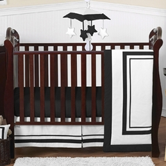 White and Black Modern Hotel Baby Bedding - 4pc Crib Set by Sweet Jojo Designs