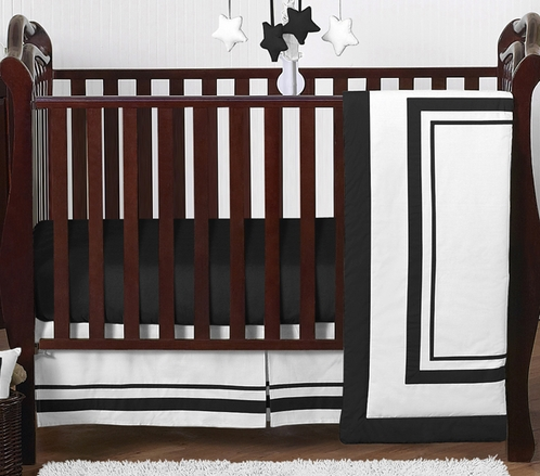 White and Black Modern Hotel Baby Bedding - 4pc Crib Set by Sweet Jojo Designs - Click to enlarge