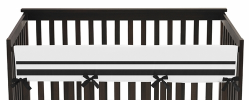 White and Black Modern Hotel Baby Crib Long Rail Guard Cover by Sweet Jojo Designs - Click to enlarge