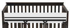 White and Black Modern Hotel Baby Crib Long Rail Guard Cover by Sweet Jojo Designs