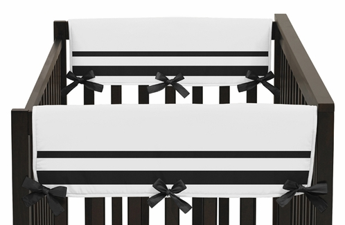 White and Black Modern Hotel Baby Crib Side Rail Guard Covers by Sweet Jojo Designs - Set of 2 - Click to enlarge