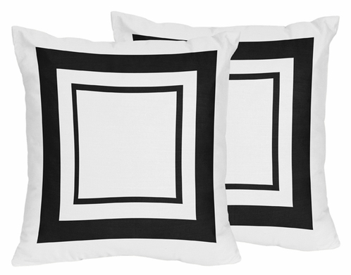 White and Black Modern Hotel Decorative Accent Throw Pillows - Set of 2 - Click to enlarge