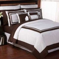 White and Chocolate Hotel Duvet Comforter Cover 6-pc Bedding Set
