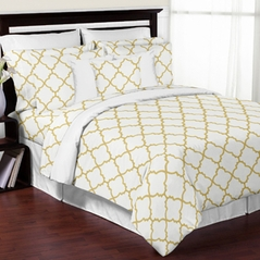 White and Gold Trellis 3pc Bed in a Bag King Bedding Set