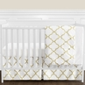 White and Gold Trellis Baby Girl Bedding - 11pc Crib Set