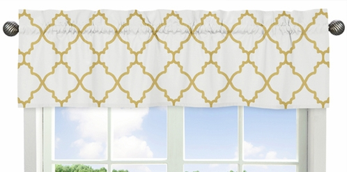 White and Gold Trellis Collection Window Valance by Sweet Jojo Designs - Click to enlarge