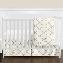 White and Gold Trellis Baby Girl Bedding - 4pc Crib Set