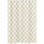 White and Gold Trellis Childrens Bathroom Fabric Bath Shower Curtain