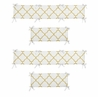 White and Gold Trellis Collection Baby Crib Bumper Pad by Sweet Jojo Designs
