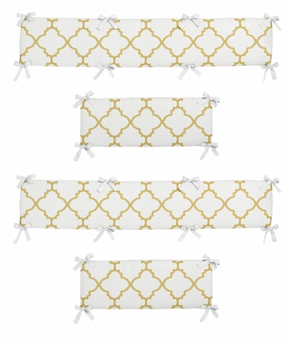 White and Gold Trellis Collection Baby Crib Bumper Pad by Sweet Jojo Designs - Click to enlarge