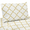 White and Gold Trellis Collection - King Sheet Set by Sweet Jojo Designs