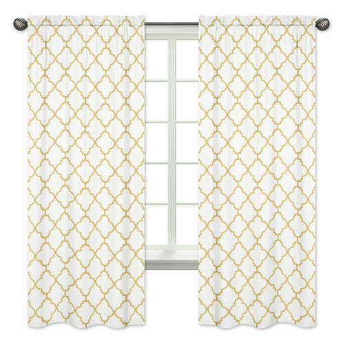 White and Gold Trellis Collection Window Treatment Panels by Sweet Jojo Designs - Set of 2 - Click to enlarge