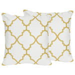 White and Gold Trellis Decorative Accent Throw Pillows for Ava Bedding Sets by Sweet Jojo Designs - Set of 2