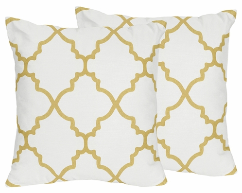 White and Gold Trellis Decorative Accent Throw Pillows for Ava Bedding Sets by Sweet Jojo Designs - Set of 2 - Click to enlarge