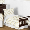 White and Gold Trellis Girls Toddler Bedding - 5pc Set
