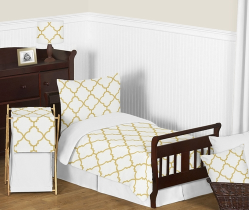 White and Gold Trellis Girls Toddler Bedding - 5pc Set - Click to enlarge