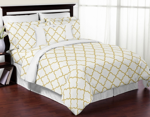 White and Gold Trellis 3pc Full / Queen Girls Teen Bedding Set - Click to enlarge