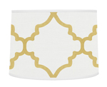 White and Gold Trellis Lamp Shade for Ava Bedding by Sweet Jojo Designs