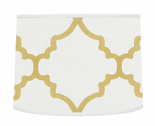 White and Gold Trellis Lamp Shade for Ava Bedding by Sweet Jojo Designs - Click to enlarge