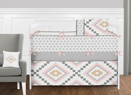 9 pc. Blush Pink and Grey Boho and Tribal Aztec Baby Girl Crib Bedding Set with Bumper by Sweet Jojo Designs - Click to enlarge