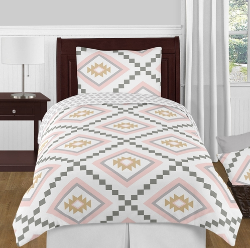 Blush Pink and Grey Boho and Tribal Aztec Girl Twin Kid Childrens Teen Bedding Comforter Set by Sweet Jojo Designs - 4 pieces - Click to enlarge