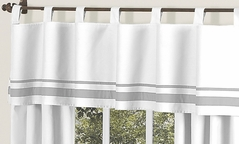 White and Gray Hotel Modern Window Valance by Sweet Jojo Designs