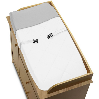 White and Gray Modern Hotel Baby Changing Pad Cover by Sweet Jojo Designs - Click to enlarge