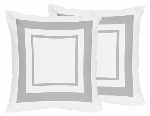 White and Gray Modern Hotel Decorative Accent Throw Pillows - Set of 2 - Click to enlarge